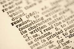 Wörterbucheintrag für gelesen. Stockbild