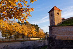 Fortress autumn mood by sunset. Indian summer at the Wülzburg - a historical fortification in Weissenburg, Germany Royalty Free Stock Image