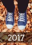 2017 Wünsche des neuen Jahres mit tragenden Turnschuhen des Jugendlichen Stockbild