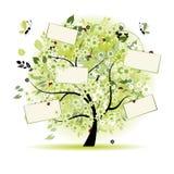 Wünschen Sie den Baum, der mit Karten für Ihren Text mit Blumen ist Lizenzfreie Stockfotos