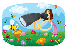Wünschen Sie zur Biene auf der Fotographie Lizenzfreie Stockbilder