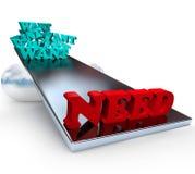 Wünscht gegen Bedarf - Balance lizenzfreie abbildung