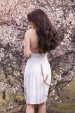 Würdevolle Frau im weißen Kleid, das mit ihr zurück unter blühenden Bäumen arbeiten steht im Frühjahr im Garten Lizenzfreie Stockfotos
