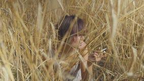 Würdevolle Modefrau mit der rauchenden Zigarette des kurzen Haares, die unter dem Weizenfeld weg schaut sitzt Überzeugtes sorglos stock footage