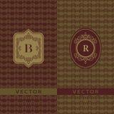 Würdevolle Schablone des abstrakten Monogramms Nahtloser Musterhintergrund Kalligraphisches elegantes Logodesign Buchstabeemblemz Stockfoto