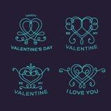 Würdevoller Blumen-Valentine Line Style Vector Heart Stockfotos