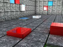 Würfel 3D, die einen Raumauslegunghintergrund zeigen Lizenzfreie Stockbilder