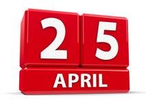 Würfel am 25. April Stockbild