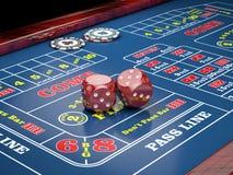 Würfel auf Kasinotabelle mit Kasinochips Abbildung 3D Lizenzfreies Stockfoto