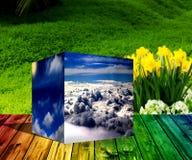 Würfel 3d bewölkt Sonnenaufgang-Hintergrundillustration der Blumennatur blaue Stockfotos