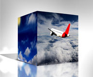 Würfel 3d bewölkt Sonnenaufgangflugzeug-Hintergrundillustration der Natur blaue Stockfotografie