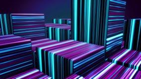 Würfel in den Neonlinien Zusammenfassungshelle Neonwürfel Abstrakte Animation mit der Bewegung von Kubikzahlen im Raum auf Dunkel stock abbildung