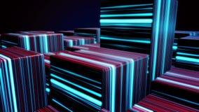 Würfel in den Neonlinien Zusammenfassungshelle Neonwürfel Abstrakte Animation mit der Bewegung von Kubikzahlen im Raum auf Dunkel lizenzfreie abbildung