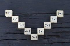 Würfel der mathematischen Formel 1x1 im hölzernen Hintergrund Stockfotos