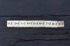 Würfel der mathematischen Formel 1x1 im hölzernen Hintergrund Lizenzfreie Stockbilder