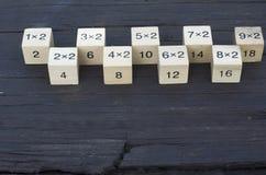 Würfel der mathematischen Formel 1x2 im hölzernen Hintergrund Stockfoto