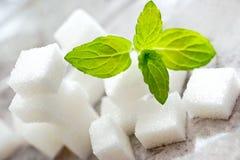 Würfel des raffinierten Zuckers mit frischer Minze Stockfotografie