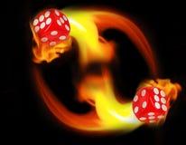 Würfel in einem Kreisfeuer KASINO-Konzept Stockbild
