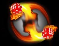 Würfel in einem Kreisfeuer KASINO-Konzept Stockfoto