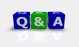 Würfel fasst Q&A ab Lizenzfreie Stockfotos