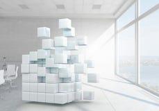 Würfel im modernen Büro Gemischte Medien Lizenzfreie Stockfotografie