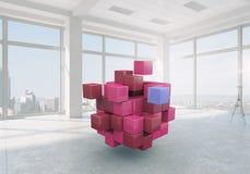 Würfel im modernen Büro Gemischte Medien Lizenzfreies Stockfoto