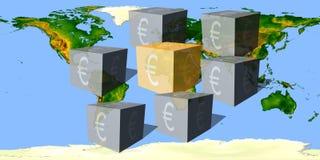 Würfel mit einem Eurowährungszeichen gegen die Weltkarte lizenzfreies stockfoto
