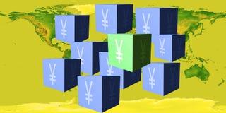 Würfel mit einem Zeichen von japanischen Yen gegen die Weltkarte stockfotos