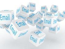 Würfel mit einer E-Mail, Bilder 3D Stockfotografie