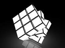 Würfel mit hellen Bildern auf einem schwarzen Hintergrund Stockbild