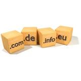 Würfel mit Internet-Adressen und -gebieten Stockfoto