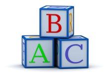 Würfel mit Zeichen ABC Stockfotos