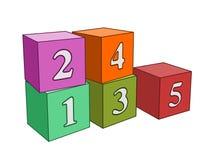 Würfel nummeriert ein bis fünf Stockbild