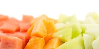 Würfel sortierte Melonen, Blatthonig IV Lizenzfreie Stockfotografie