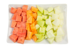 Würfel sortierte Melonen und Blatthonig IV Stockfotografie