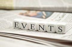 Würfel würfeln mit Ereignissen stockfoto