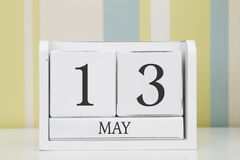 Würfelformkalender für den 13. Mai Lizenzfreie Stockfotografie