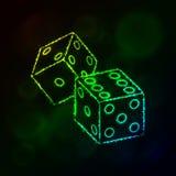 Würfelikonenschattenbild von Lichtern Baumuster 3D auf weißem Hintergrund Stockfotografie