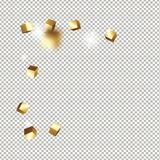 Würfelkonfettis des Gold 3D Lizenzfreies Stockfoto