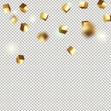 Würfelkonfettis des Gold 3D Stockfoto