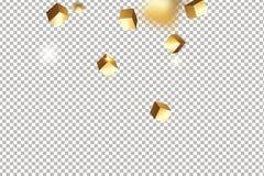 Würfelkonfettis des Gold 3D Lizenzfreies Stockbild