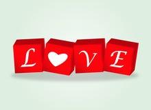 Würfeln Sie Liebesvektor, lieben Sie Vektor, Würfelvektor, Valentinsgrußtag Lizenzfreies Stockbild