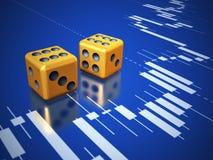 Würfelt und Aktienkurve Stockbild