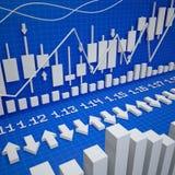 Würfelt und Aktienkurve Lizenzfreies Stockbild