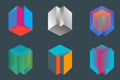 Würfeltechnologiezusammenfassungsvektor-Logoschablone Stockbilder