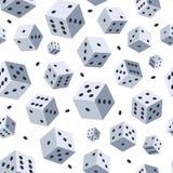 Würfelvektormuster Nahtloser Hintergrund mit Bild von Würfeln Illustrationen für Spielclub oder -kasino stock abbildung