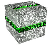 Würfelwörter mit recicle Wort im Grün Stockfoto