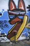 Würstchen-Wandgemälde mit einem Fox-Kopf gefangen genommen in Brooklyn, USA lizenzfreies stockfoto