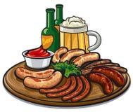 Würste und Bier stock abbildung
