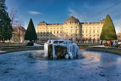 Extreme cold in germany europe. Würzburg Bavaria Germany Europe February 26 2018 is freezing in extreme cold on a sunny day Würzburg Residence is photographed Stock Images